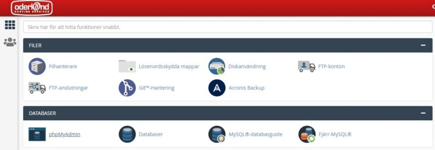 Kontrollpanel Oderland för phpmyadmin databas